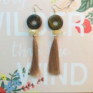 Wood/yellow jewel Fringe earrings